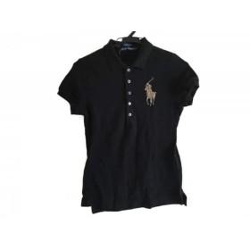【中古】 ラルフローレン 半袖ポロシャツ サイズS レディース ビックポニー 黒 ラインストーン