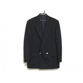 【中古】 アクアスキュータム Aquascutum ジャケット サイズAB6 メンズ 黒 肩パッド/ネーム刺繍