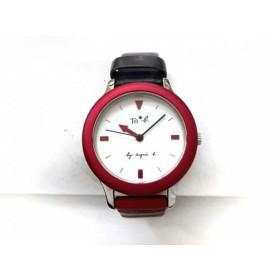 【中古】 アニエスベー agnes b 腕時計 VJ21-K560 レディース 革ベルト/ボーダー 白
