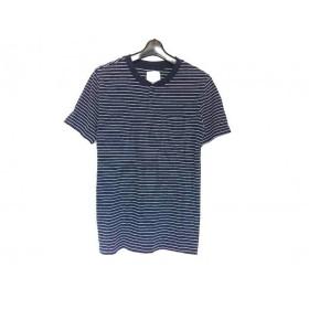 【中古】 サタデーズ サーフ ニューヨーク 半袖Tシャツ サイズM メンズ ネイビー 白 ボーダー