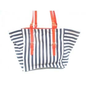 【中古】 スライ SLY トートバッグ 美品 ネイビー アイボリー オレンジ ストライプ キャンバス 合皮
