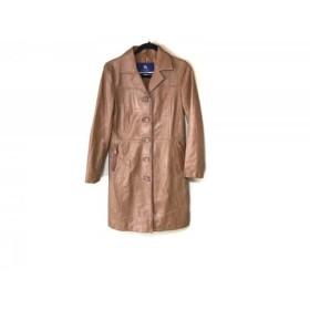 【中古】 バーバリーブルーレーベル コート サイズ38 M レディース ライトブラウン 冬物/ラムレザー