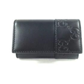【中古】 グッチ GUCCI キーケース 美品 シマライン 256433 黒 6連フック レザー