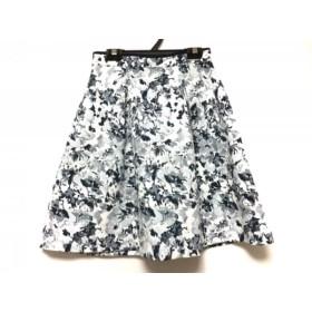 【中古】 アプワイザーリッシェ スカート サイズ0 XS レディース 美品 白 ネイビー ライトブルー 花柄