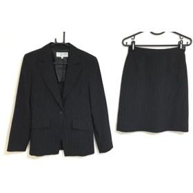 【中古】 ヴァンドゥ オクトーブル スカートスーツ サイズ36 S レディース 黒 ベージュ ストライプ