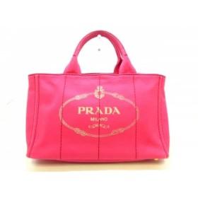 【中古】 プラダ PRADA トートバッグ CANAPA ピンク キャンバス
