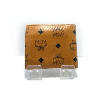 【中古】 エムシーエム MCM 2つ折り財布 ブラウン 黒 合皮