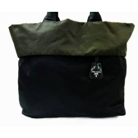 【中古】 プラダ PRADA トートバッグ - 黒 カーキ リバーシブル ナイロン レザー