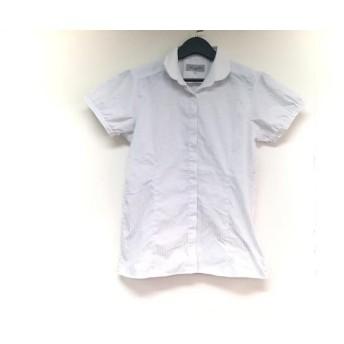 【中古】 レミュー 半袖シャツブラウス サイズ13 L レディース ホワイト ライトブルー ストライプ/刺繍