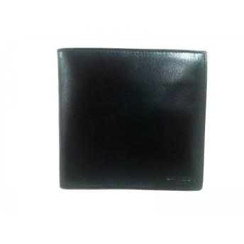 【中古】 ランセル LANCEL 2つ折り財布 黒 レザー