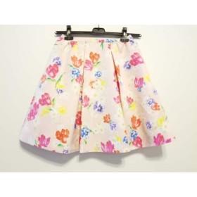 【中古】 チェスティ Chesty スカート サイズ0 XS レディース 美品 ベージュ ピンク マルチ 花柄