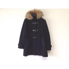 【中古】 コールハーン COLE HAAN コート サイズL レディース 美品 黒 フェイクファー/冬物