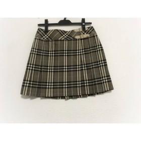 【中古】 バーバリーブルーレーベル 巻きスカート サイズ36 S レディース 美品 チェック柄/プリーツ