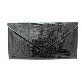 【中古】 レイチェルゾー RACHEL ZOE クラッチバッグ 黒 型押し加工 エナメル(レザー)