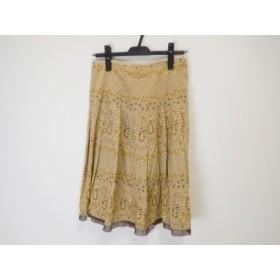 【中古】 ギャラリービスコンティ スカート サイズ3 L レディース ベージュ ダークブラウン アイボリー