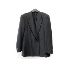 【中古】 ジョルジオアルマーニ ジャケット サイズ50 M メンズ ネイビー ブラウン ダブル/冬物