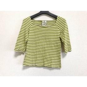 【中古】 ホコモモラ JOCOMOMOLA Tシャツ サイズ40 XL レディース ベージュ グリーン ボーダー