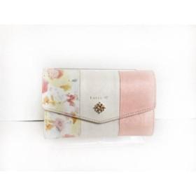 【中古】 ヨンドシー 4℃ 3つ折り財布 白 ピンク マルチ luria4°c/ラインストーン レザー