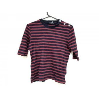 【中古】 マーガレットハウエル Tシャツ サイズ2 M レディース ネイビー ボルドー ボーダー