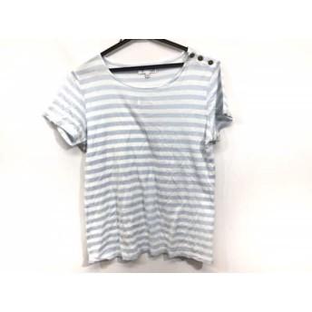 【中古】 アニエスベー agnes b 半袖Tシャツ サイズT2 レディース 白 ライトブルー ボーダー