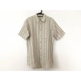 【中古】 ランバン LANVIN 半袖シャツ サイズ48 L メンズ ライトグレー アイボリー チェック柄