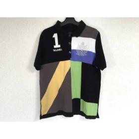 【中古】 バレンザ VALENZA 半袖ポロシャツ サイズ48 XL レディース 黒 白 マルチ ラインストーン