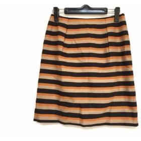 【中古】 アナイ ANAYI スカート サイズ36 S レディース 黒 ベージュ オレンジ ボーダー