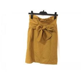 【中古】 ジャスグリッティー JUSGLITTY スカート サイズ1 S レディース イエロー リボン