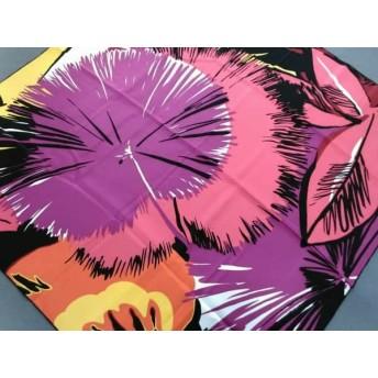 【中古】 ロエベ LOEWE スカーフ 美品 ピンク レッド 黒 花柄