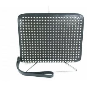 【中古】 クリスチャンルブタン バッグ 美品 ローラーボーイスパイク 黒 iPadケース/スタッズ レザー