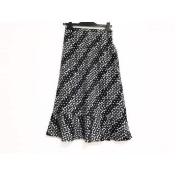 【中古】 ギャラリービスコンティ ロングスカート サイズ2 M レディース 黒 グレー パープル ドット柄