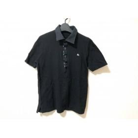 【中古】 バーバリーブラックレーベル 半袖ポロシャツ サイズ2 M メンズ 黒 チェック柄