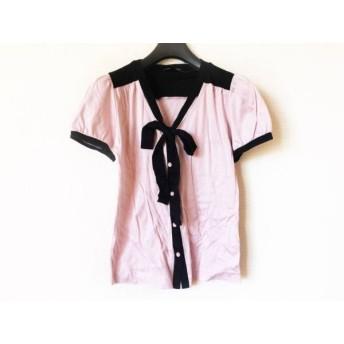 【中古】 ナネットレポー nanettelepore 半袖シャツブラウス サイズS レディース ピンク 黒 リボン