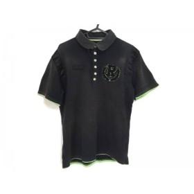 【中古】 ラッセルノ RUSSELUNO 半袖ポロシャツ サイズL メンズ 黒 ライトグリーン スカル/刺繍