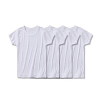 綿100%ベーシックスクール半袖インナー4枚組(男の子 子供服。ジュニア服) キッズ下着