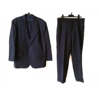 【中古】 センチュリー CENTURY シングルスーツ メンズ ネイビー ダークブラウン 肩パッド