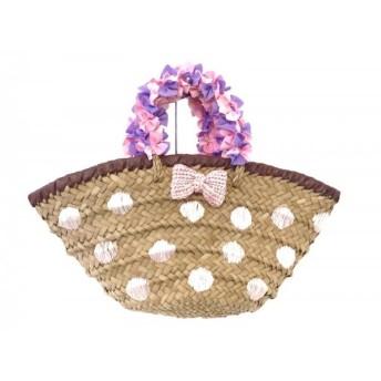【中古】 サマンサベガ トートバッグ ブラウン ピンク パープル かごバッグ 天然繊維 化学繊維