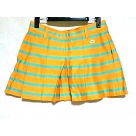 【中古】 パーリーゲイツ スカート サイズ1 S レディース 美品 オレンジ ライトブルー ボーダー