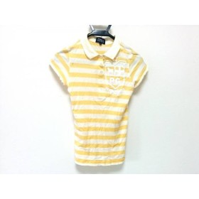 【中古】 パーリーゲイツ 半袖ポロシャツ サイズ0 XS レディース アイボリー イエロー ボーダー