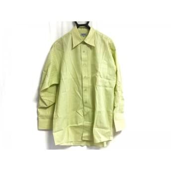 【中古】 ケンゾー KENZO 長袖シャツ サイズ3 L メンズ ライトグリーン 白 ストライプ/HOMME