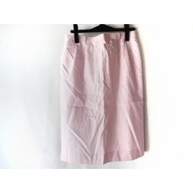 【中古】レリアン Leilian スカート サイズ13+ S レディース ピンクx白 ストライプ