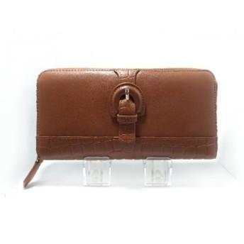 【中古】 フォリフォリ FolliFollie 長財布 ブラウン L字ファスナー/型押し加工 合皮