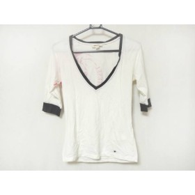 【中古】 ディーゼル DIESEL 半袖Tシャツ サイズXS レディース 白 ピンク ダークグレー Vネック