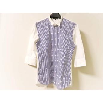 【中古】 ギルドプライム GUILD PRIME 七分袖シャツ サイズ1 S メンズ 白 ブルー ストライプ/ドット柄