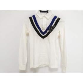 【中古】 ラルフローレン RalphLauren 長袖ポロシャツ サイズ5 XS レディース 白 ブルー ネイビー
