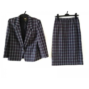 【中古】 レリアン スカートスーツ サイズ9 M レディース グレー ダークグレー レッド チェック柄