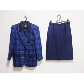 【中古】 レリアン Leilian スカートスーツ サイズ9 M レディース 黒 パープル カーキ チェック柄