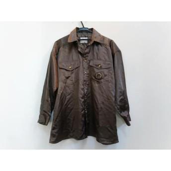 【中古】 バレンザポースポーツ 長袖シャツ サイズ40 M メンズ 美品 ダークブラウン ゴールド