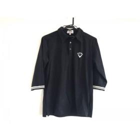 【中古】 キャロウェイ CALLAWAY 七分袖ポロシャツ サイズM レディース 黒 アイボリー GOLF