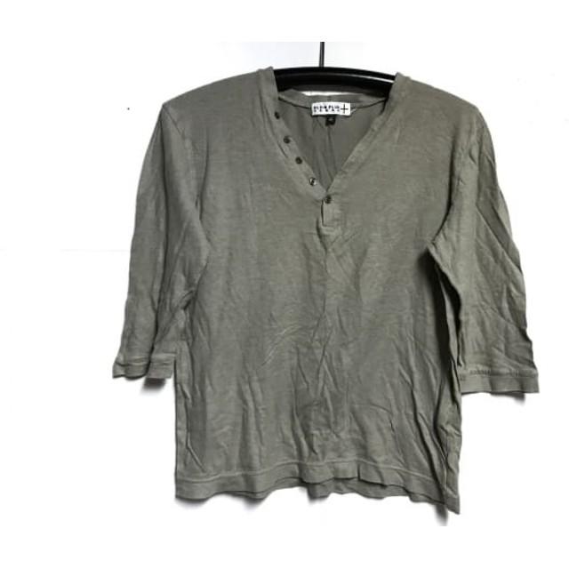 28bf57e1da228b 【中古】 クランプリュス KLEIN PLUS 七分袖カットソー サイズ46 XL メンズ カーキ